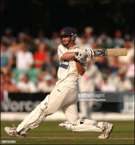 Mal Loye of Lancashire hits a boundary during his innings of 116 not out in the CG Trophy Semi Final between Worcestershire and Lancashire at New...
