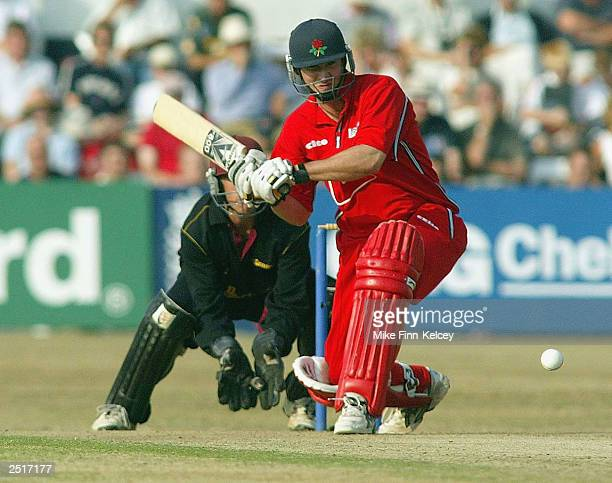 Mal Loye of Lancashire Lightning hits out on his way to a century against during the National Cricket League Division Two match between Northampton...