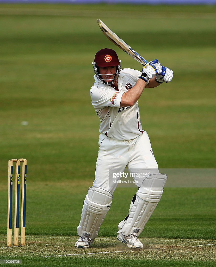 Mal Loye of Northamptonshire hits the ball away towards the boundary during the LV County Championship match between Northamptonshire and Surrey at the County Ground on May 24, 2010 in Northampton, England.