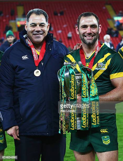 Mal Meninga Coach of Australia and Cameron Smith pose with the trophy after victory in the Four Nations Final between New Zealand and Australia at...