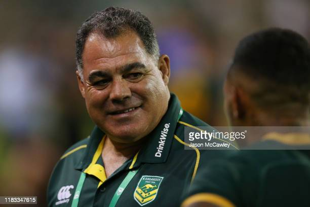 Mal Meninga coach of the Kangaroos looks on during the International Rugby League Test Match between the Australian Kangaroos and the New Zealand...