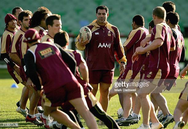 Mal Meninga coach of the Maroons instructs his players during Queensland Training at the MC Labour Park June 30 2006 in Melbourne Australia The...