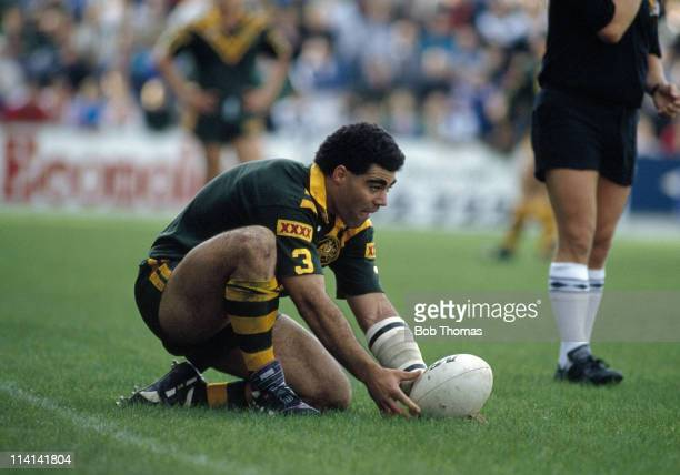 Mal Meninga of Australia in action against St Helens during the Kangaroos Tour of Great Britain at St Helens on 7th October 1990 Australia won 344
