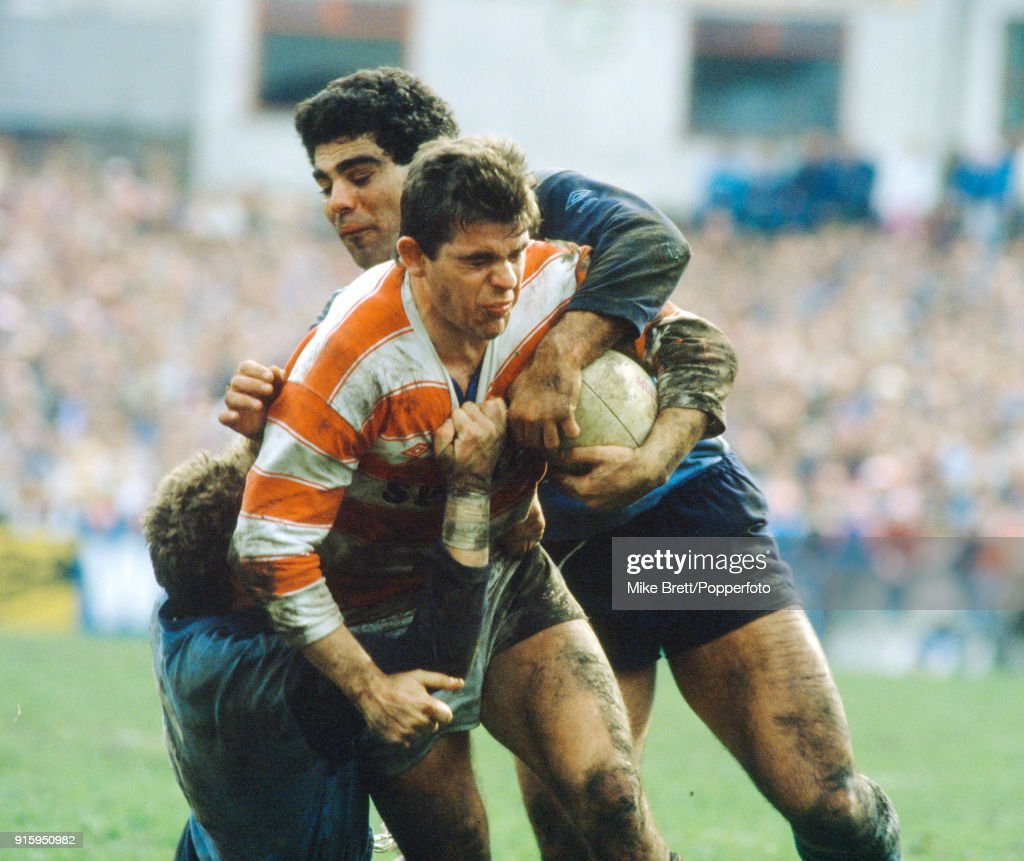 Mal Meninga of St Helens tackles David Stephenson of Wigan during their rugby league match on 5th April 1985.