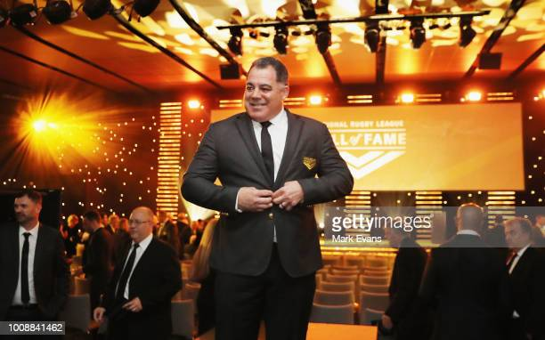 Mal Meninga poses for photographs after he was named as the 13th Immortal at the 2018 NRL Hall of Fame at Sydney Cricket Ground on August 1 2018 in...
