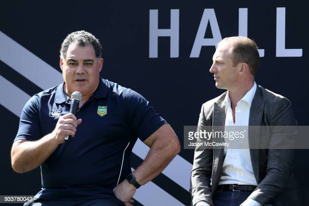 Mal Meninga speaks during the Rugby League Hall of Fame and Immortals Announcement at Sydney Cricket Ground on March 19 2018 in Sydney Australia