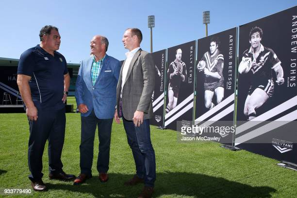 Mal Meninga Wally Lewis and Darren Lockyer pose for the media during the Rugby League Hall of Fame and Immortals Announcement at Sydney Cricket...