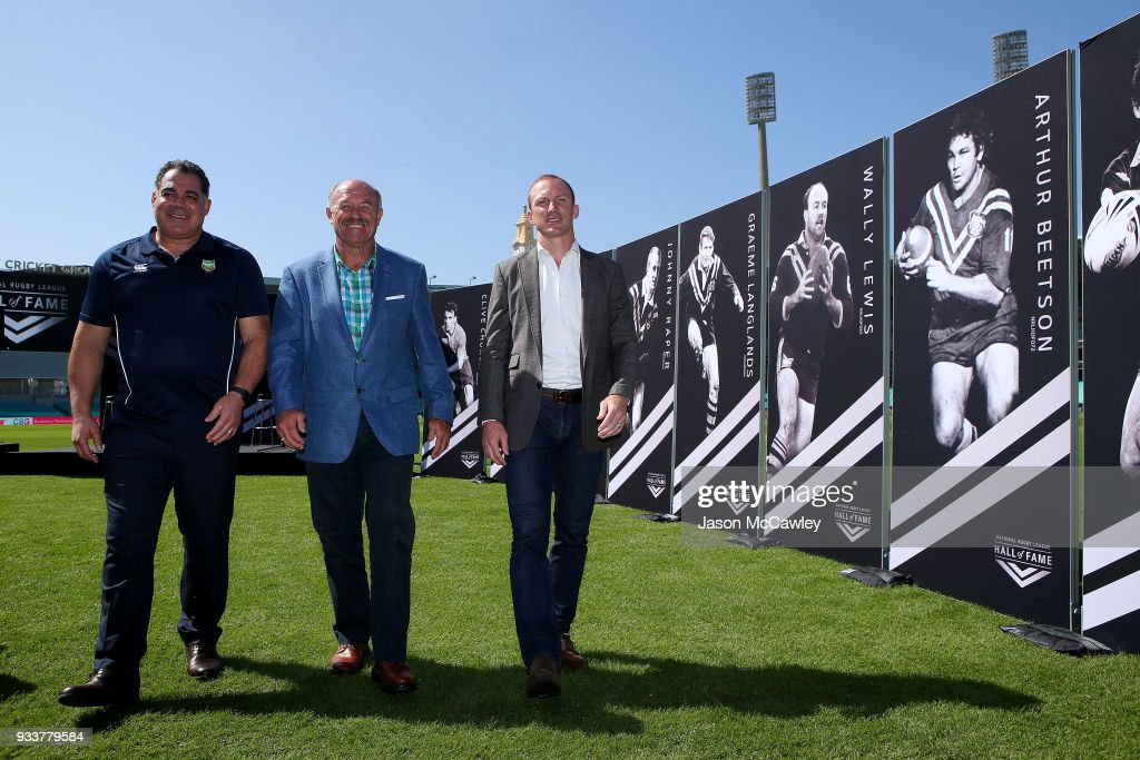 Mal Meninga, Wally Lewis and Darren Lockyer pose for the media during the Rugby League Hall of Fame and Immortals Announcement at Sydney Cricket Ground on March 19, 2018 in Sydney, Australia.