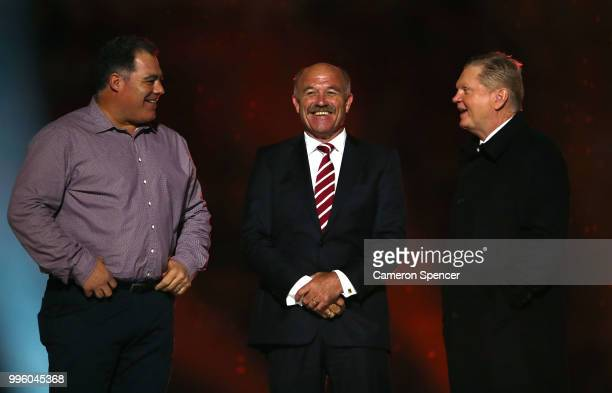 Mal Meninga Wally Lewis and Paul Vautin appear on stage during a Captain's tribute before game three of the State of Origin series between the...