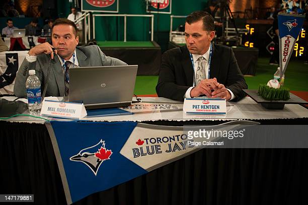 Mal Romanin and Pat Hentgen are seen during the 2012 FirstYear Player Draft Monday June 4 at MLB Network's Studio 42 in Secaucus New Jersey