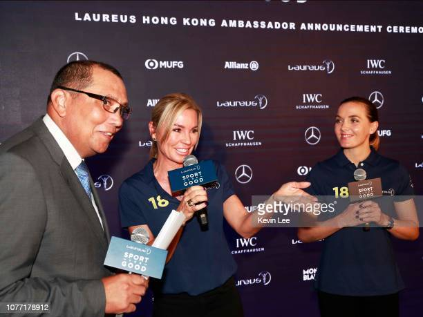Mal Thompson Laureus Ambassador Annabelle Bond and Laureus Ambassador Victoria Pendleton speaks during the Hong Kong Ambassador Announcement ceremony...