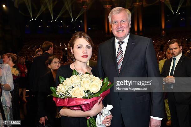 Mala Emde and Horst Seehofer attend the Bayerischer Fernsehpreis 2015 at Prinzregententheater on May 22, 2015 in Munich, Germany.