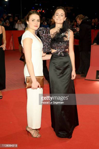 Mala Emde and Lea van Acken attend the The Kindness Of Strangers premiere during the 69th Berlinale International Film Festival Berlin at Berlinale...