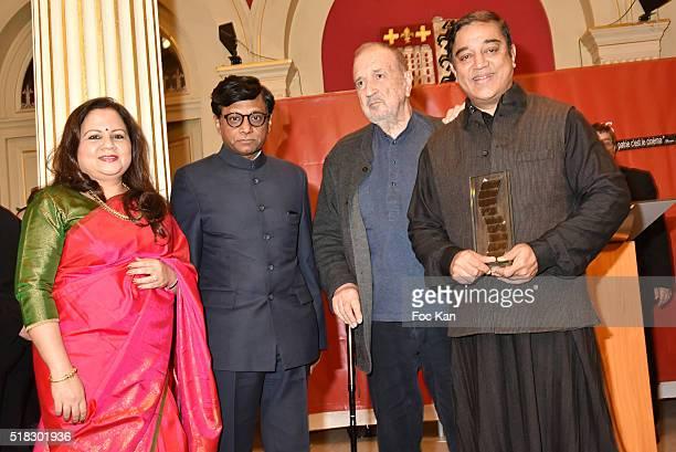 Mala Kumar Indian ambassador Dr Mohan Kumar Jean Claude CarrIere and Prix Henri Langlois 2016 awarded director/ actor Kamal Haasan attend '10eme...