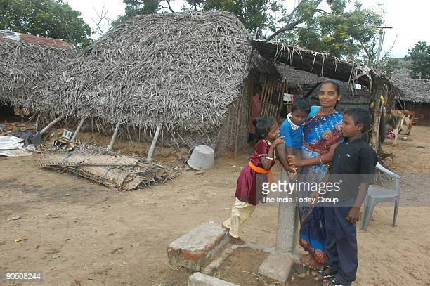 Mala Labourer with her Children at her residence in Tranquebar Cuddalore District