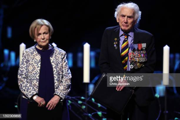 Mala Tribich MBE, Bergen-Belsen survivor and Ian Forsyth MBE speak during the UK Holocaust Memorial Day Commemorative Ceremony in Westminster on...