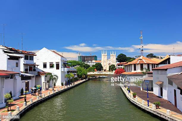 malacca or melaka river canal , malaysia. - melaka state stock pictures, royalty-free photos & images