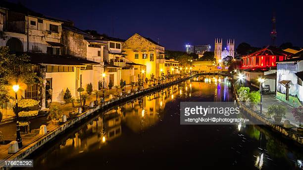 malacca river dawn/night scene - melaka state stock pictures, royalty-free photos & images