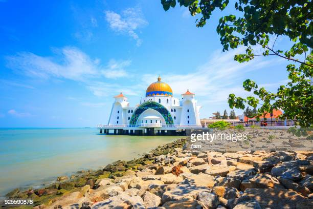 Malacca Straits Mosque during sunrise - Masjid Selat Melaka. It is a mosque located on the man-made Malacca Island near Malacca Town. Malaysia