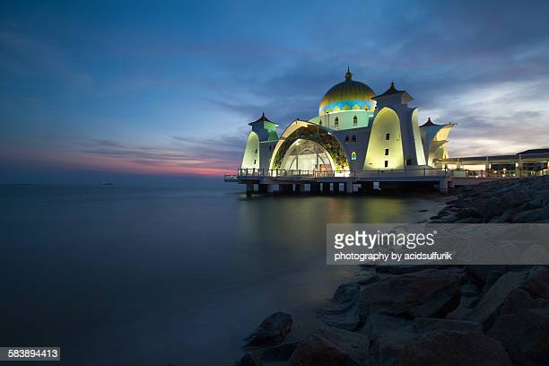 Malacca Straits Mosque (Masjid Selat) on sunset