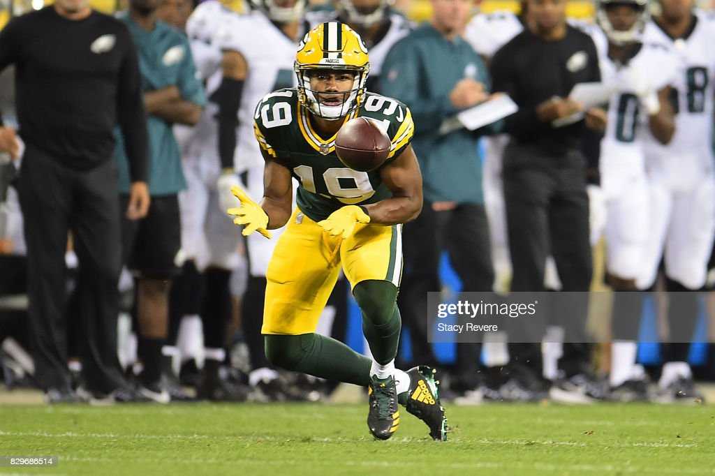 Malachi Dupre #19 of the Green Bay Packers catches a pass during the third quarter of a preseason game against the Philadelphia Eagles at Lambeau Field on August 10, 2017 in Green Bay, Wisconsin.