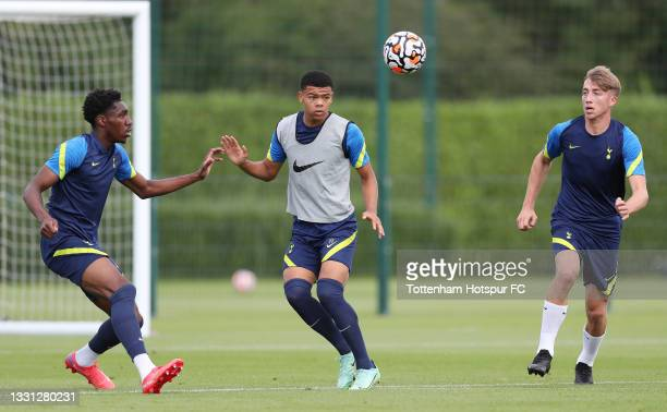 Malachi Fagan-Walcott, Dane Scarlett and Jack Clarke of Tottenham Hotspur during the Tottenham Hotspur pre-season training session at Tottenham...
