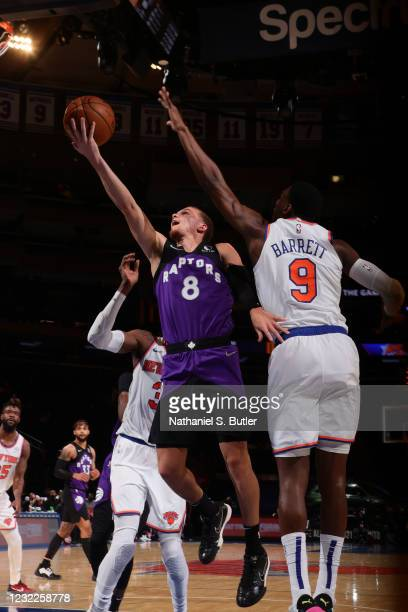 Malachi Flynn of the Toronto Raptors shoots the ball during the game against the New York Knicks on April 11, 2021 at Madison Square Garden in New...