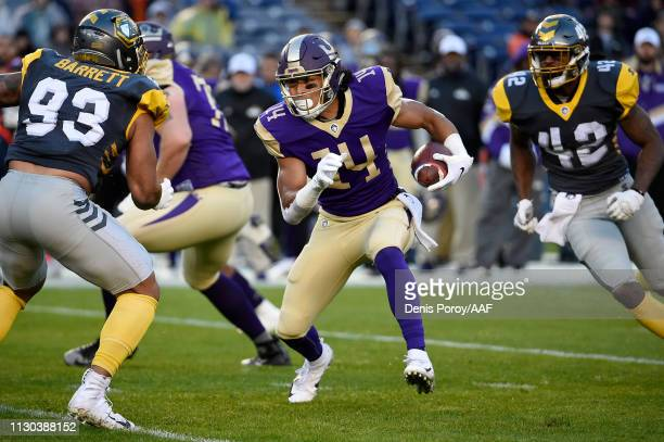 Malachi Jones of the Atlanta Legends runs with the ball in the first quarter against the Atlanta Legends during the Alliance of American Football...
