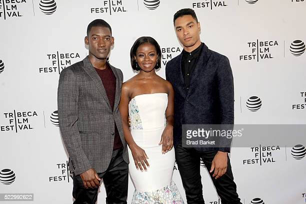 Malachi Kirby Erica Tazel and RegeJean Page attend the 'Roots' Screening At Tribeca Film Festival on April 21 2016 in New York City