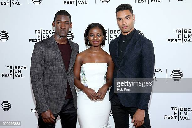 Malachi Kirby Erica Tazel and RegeJean Page attend Tribeca Tune In Roots at SVA Theatre 1 on April 21 2016 in New York City