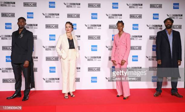 """Malachi Kirby, Rochenda Sandall, Letitia Wright and Shaun Parkes attend the European Premiere of """"Mangrove"""", the Opening Night screening of the 64th..."""