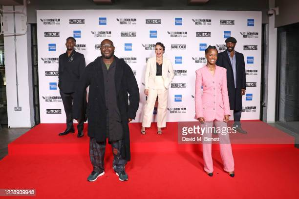 """Malachi Kirby, Steve McQueen, Rochenda Sandall, Letitia Wright and Shaun Parkes attend the European Premiere of """"Mangrove"""", the Opening Night..."""