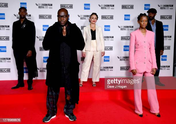 """Malachi Kirby, Steve McQueen, Rochenda Sandall, Letitia Wright and Shaun Parkes attend the """"Mangrove"""" opening film and European Premiere during the..."""