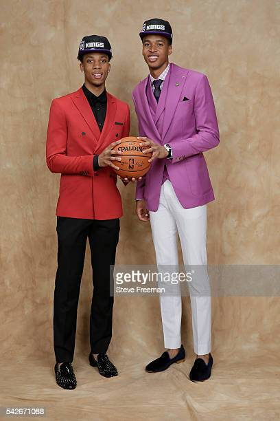 Malachi Richardson and Skal Labissiere pose for a portrait after being traded to the Sacramento Kings during the 2016 NBA Draft on June 23 2016 at...