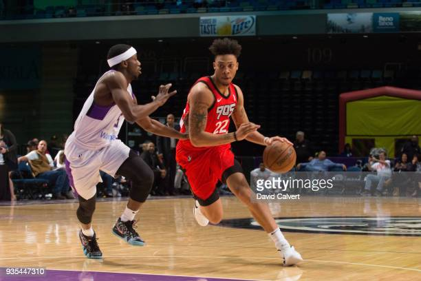 Malachi Richardson of Raptors 905 dribbles around defender Josh Hagins of the Reno Bighorns during an NBA GLeague game on March 20 2018 at the Reno...