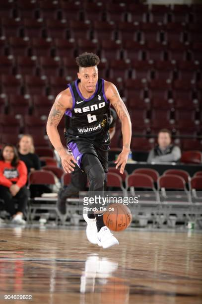 Malachi Richardson of the Reno Bighorns dribbles the ball against the Delaware 87ers during NBA GLeague Showcase Game 26 on January 13 2018 at the...