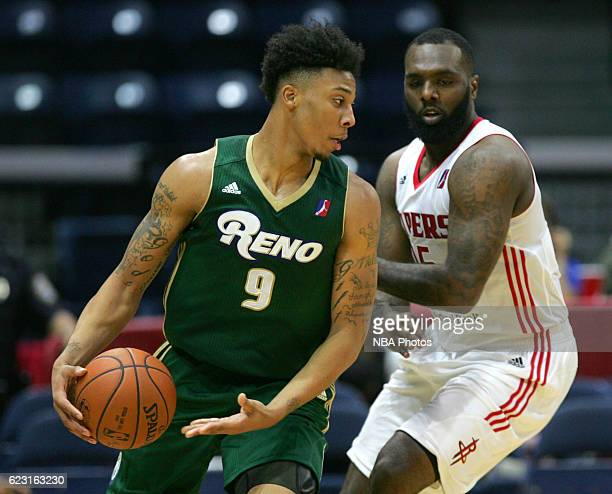 Malachi Richardson of the Reno Bighorns moves the ball against PJ Hairston of the Rio Grande Valley Vipers during the fourth quarter of their game at...