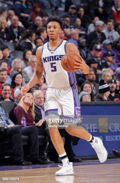 Malachi Richardson of the Sacramento Kings brings the ball up the court against the Chicago Bulls on February 6 2017 at Golden 1 Center in Sacramento...