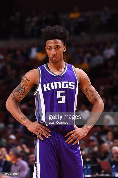 Malachi Richardson of the Sacramento Kings looks on against the Los Angeles Lakers during a preseason game on October 4 2016 at Honda Center in...
