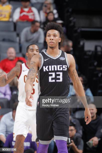 Malachi Richardson of the Sacramento Kings looks on during the game against the Cleveland Cavaliers on December 27 2017 at Golden 1 Center in...