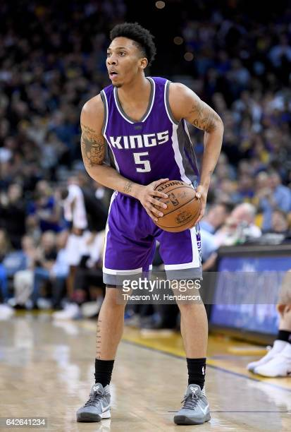 Malachi Richardson of the Sacramento Kings looks to pass the ball against the Golden State Warriors during an NBA Basketball game at ORACLE Arena on...