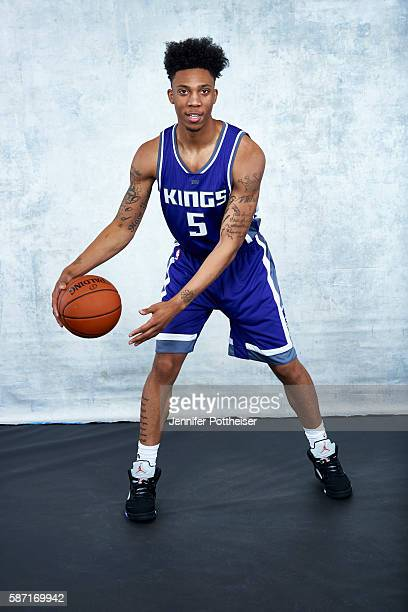 Malachi Richardson of the Sacramento Kings poses for a portrait during the 2016 NBA rookie photo shoot on August 7 2016 at the Madison Square Garden...