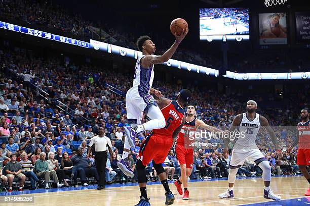 Malachi Richardson of the Sacramento Kings shoots a lay up against the Washington Wizards on October 15 2016 at Rupp Arena in Lexington Kentucky NOTE...
