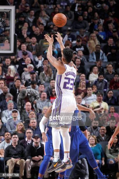 Malachi Richardson of the Sacramento Kings shoots against the Philadelphia 76ers on November 9 2017 at Golden 1 Center in Sacramento California NOTE...