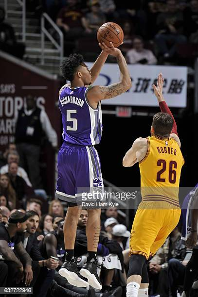 Malachi Richardson of the Sacramento Kings shoots the ball against the Cleveland Cavaliers on January 25 2017 at Quicken Loans Arena in Cleveland...