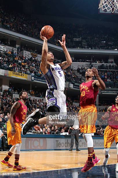 Malachi Richardson of the Sacramento Kings shoots the ball during the game against the Indiana Pacers on January 27 2017 at Bankers Life Fieldhouse...