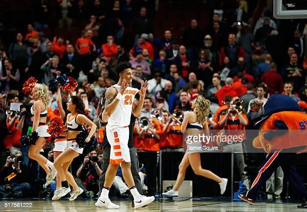 Malachi Richardson of the Syracuse Orange celebrates their 63 to 60 win against the Gonzaga Bulldogs during the 2016 NCAA Men's Basketball Tournament...