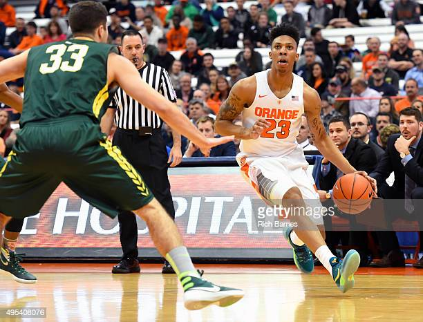 Malachi Richardson of the Syracuse Orange drives to the basket against Connor Mahoney of Le Moyne Dolphins during the first half at the Carrier Dome...