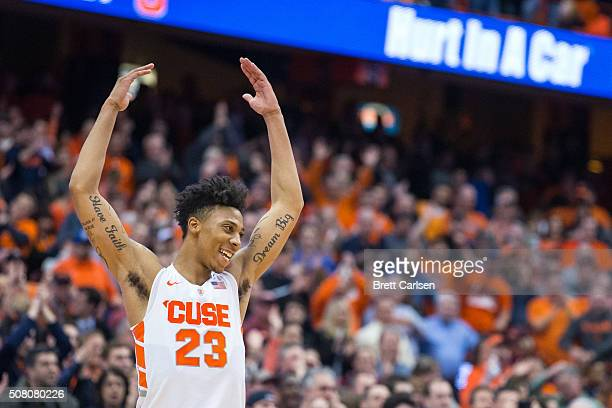 Malachi Richardson of the Syracuse Orange throws his hands up to celebrate the win over Virginia Tech Hokies on February 2 2016 at The Carrier Dome...