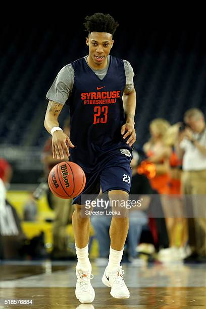 Malachi Richardson of the Syracuse Orange warms up during a practice session for the 2016 NCAA Men's Final Four at NRG Stadium on April 1 2016 in...